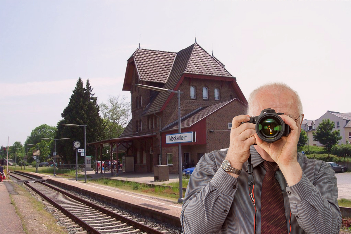 Meckenheim neuer Markt, Detektiv zeigt Daumen nach oben, Schriftzug: Unserer Detektei ermittelt für Sie in Meckenheim!
