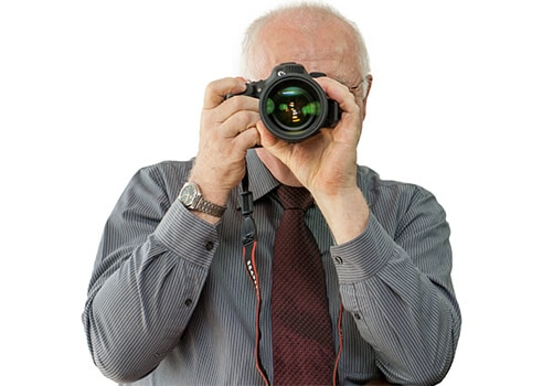 Detektiv mit Kamera Canon 7 D Mark II