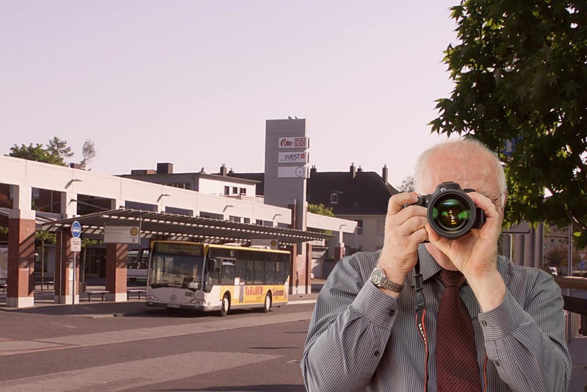 Schriftzug: Detektei Kubon ermittelt in Erkelenz, Detektiv fotografiert, 4 Detektive zeigen Daumen nach oben.