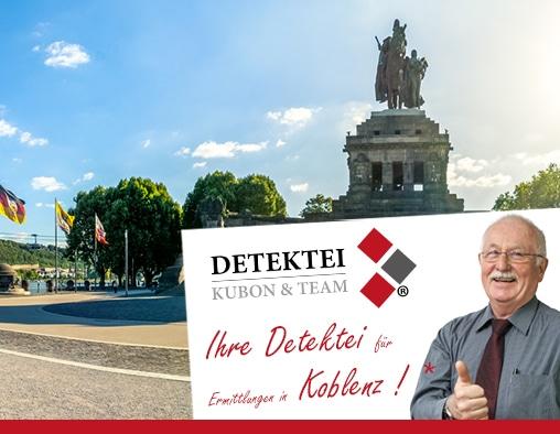 Panoramabild Koblenz , Detektiv zeigt Daumen nach oben, Schriftzug: Unserer Detektei ermittelt für Sie in Koblenz !
