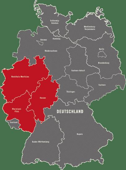 Deutschlandkarte - Einsatzorte der Detektei Kubon