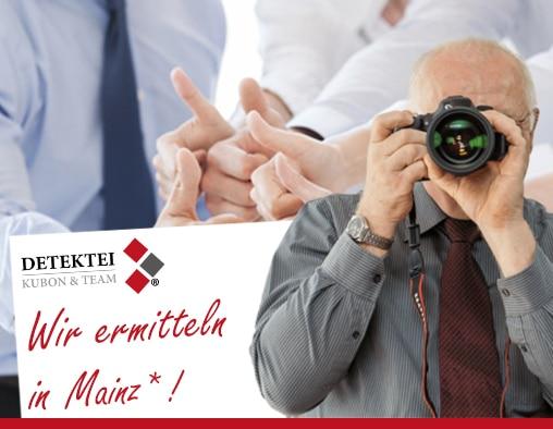 Schriftzug: Detektei Kubon ermittelt in Mainz, Detektiv fotografiert, 4 Detektive zeigen Daumen nach oben.