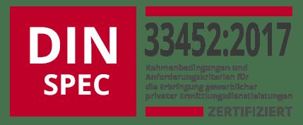 Zertifikat Logo - DIN SPEC 33452 Rahmenbedingungen und Anforderungskriterien für die Erbringung gewerblicher privater Ermittlungsdienstleistungen