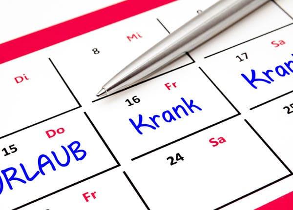 Kalender eines ständig kranken Mitarbeiters