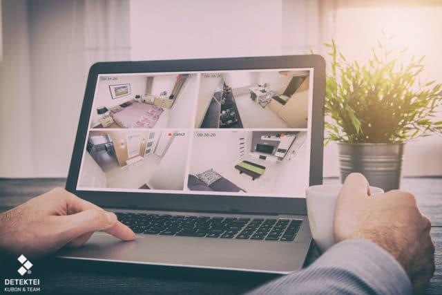 Bilder aus Videoüberwachung auf Laptop Bildschirm